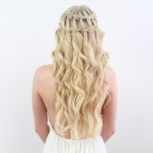 20 Gorgeous Waterfall Hairstyles: Cute Long Hair Style Ideas For 2019 Intended For Cascading Curly Crown Braid Hairstyles (View 10 of 25)