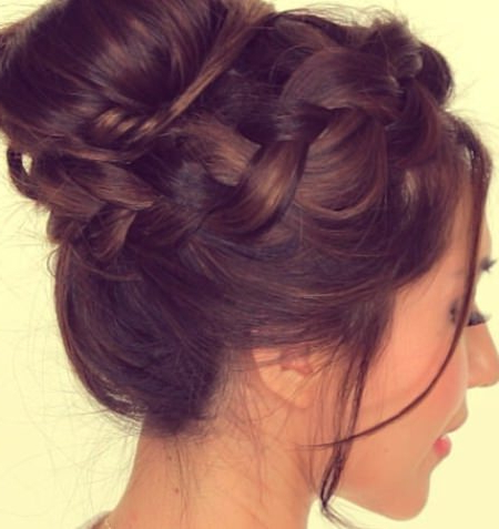 20 Messy Bun Hairstyles For Prom Throughout Braid And Fluffy Bun Prom Hairstyles (View 9 of 25)