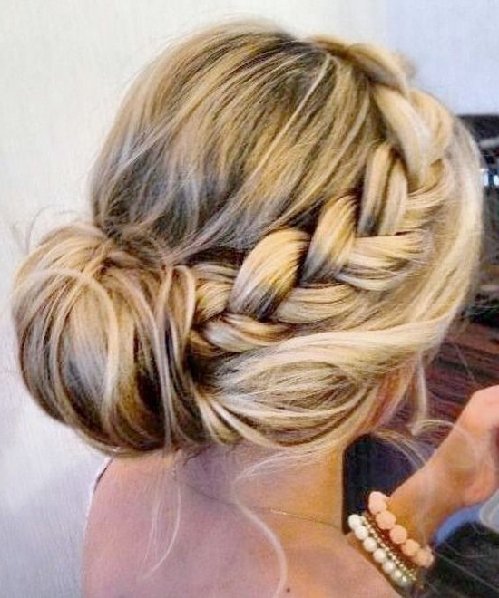 20 Pretty Braided Updo Hairstyles   Tangled   Bridesmaid Hair, Hair Throughout Classic Prom Updos With Thick Accent Braid (View 25 of 25)