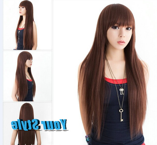 2015 New Synthetic Long Straight Brown Wigs Natural Hair Dancy Party Within Long Straight Japanese Hairstyles (View 2 of 25)