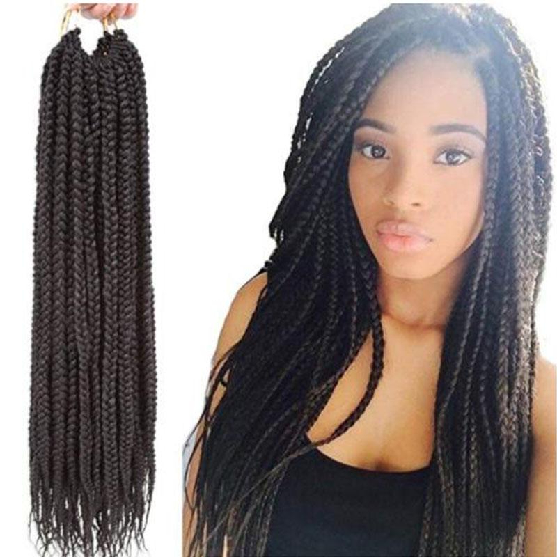 2019 3Packs 14''1822 Box Braids Crochet Hair Synthetic Hair With Long Hairstyles Extensions (View 7 of 25)