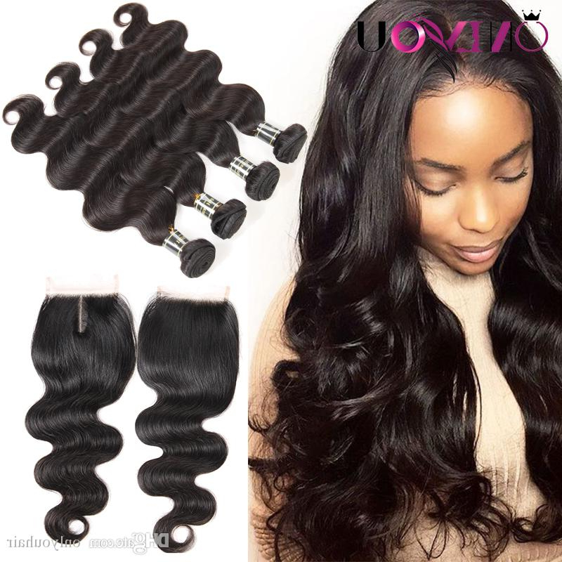 2019 Malaysian Body Wave Virgin Hair 4 Bundles With Top Lace Closure Throughout Long Virgin Hairstyles (View 4 of 25)