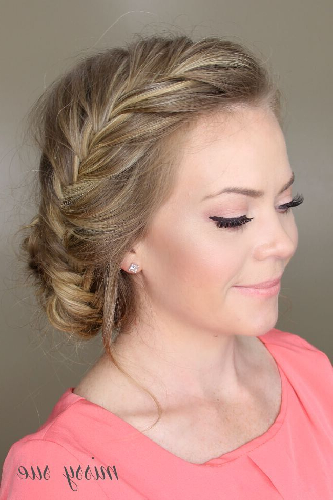 21 All New French Braid Updo Hairstyles – Popular Haircuts Regarding Side Bun Twined Prom Hairstyles With A Braid (View 13 of 25)