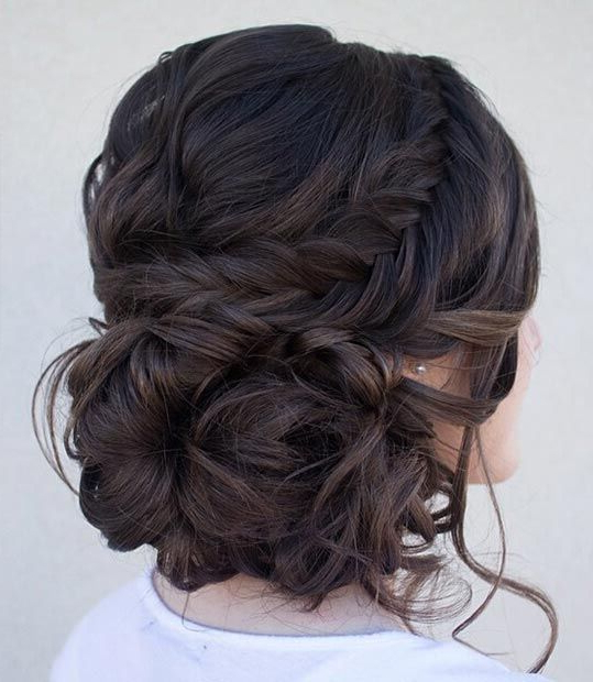 21 All New French Braid Updo Hairstyles – Popular Haircuts Within Diagonal Braid And Loose Bun Hairstyles For Prom (View 17 of 25)