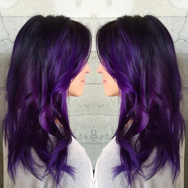 21 Bold And Trendy Dark Purple Hair Color Ideas | Stayglam In Purple Long Hairstyles (View 12 of 25)