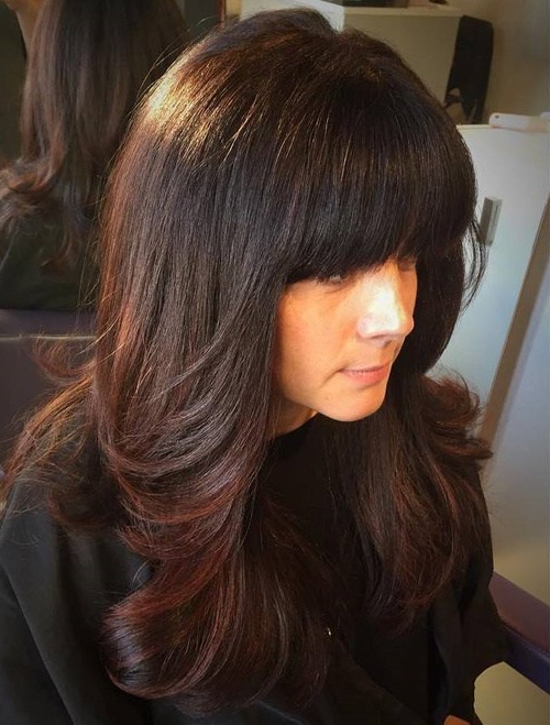 21 Cute, Effortless Long Hairstyles With Bangs And Layers In Black Long Hairstyles With Bangs And Layers (View 12 of 25)