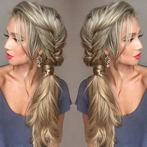 21 Pretty Side Swept Hairstyles For Prom | Hair | Hair Styles, Prom Inside Textured Side Braid And Ponytail Prom Hairstyles (View 3 of 25)