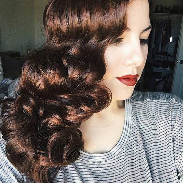 21 Pretty Side Swept Hairstyles For Prom | Stayglam With Regard To Side Swept Brunette Waves Hairstyles For Prom (View 19 of 25)