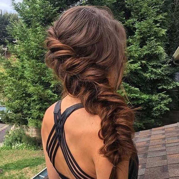21 Pretty Side Swept Hairstyles For Prom | Stayglam Within Formal Dutch Fishtail Prom Updos (View 23 of 25)