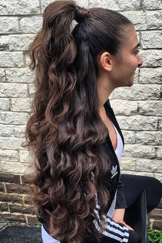 21 Quick And Easy Half Ponytail Hairstyles For Straight And Curly Regarding Long Layered Half Curled Hairstyles (View 22 of 25)
