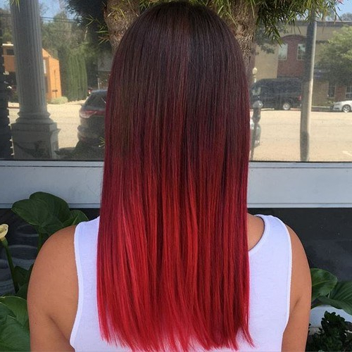 22 Hottest Red Balayage & Ombre Hairstyles 2019 – Hairstyles Weekly Within Long Hairstyles Red Ombre (View 23 of 25)