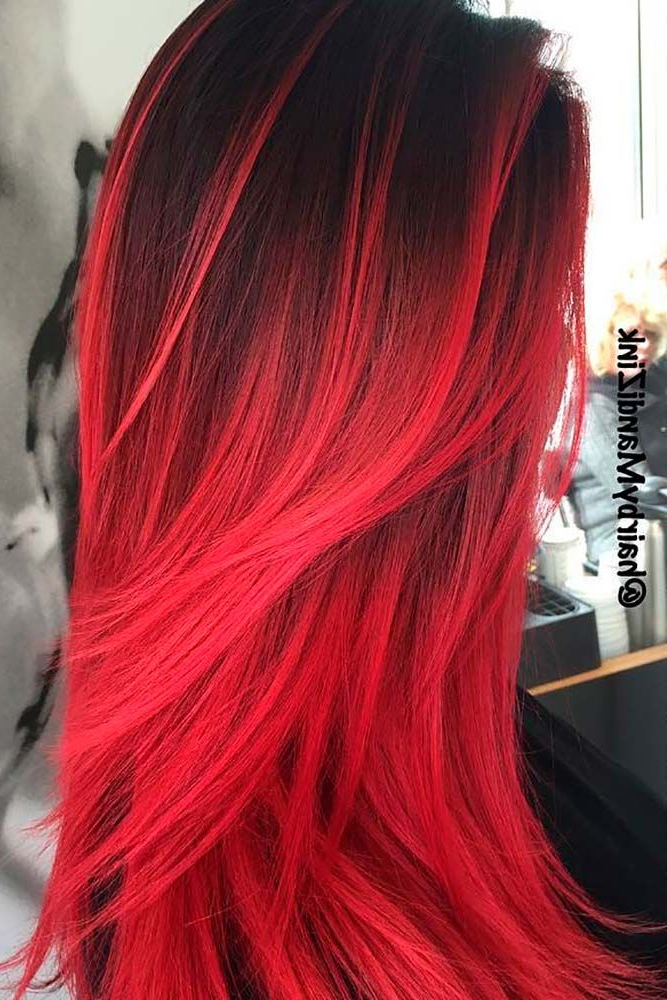 23 Beautiful Red Ombre Hair | Beaut Ti Fy | Red Ombre Hair, Dyed Pertaining To Long Hairstyles Red Ombre (View 16 of 25)