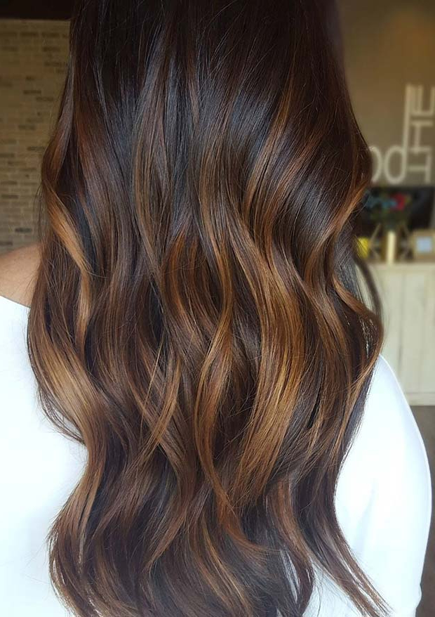 23 Best Fall Hair Colors & Ideas For 2018 | Stayglam With Warm Toned Brown Hairstyles With Caramel Balayage (View 13 of 25)