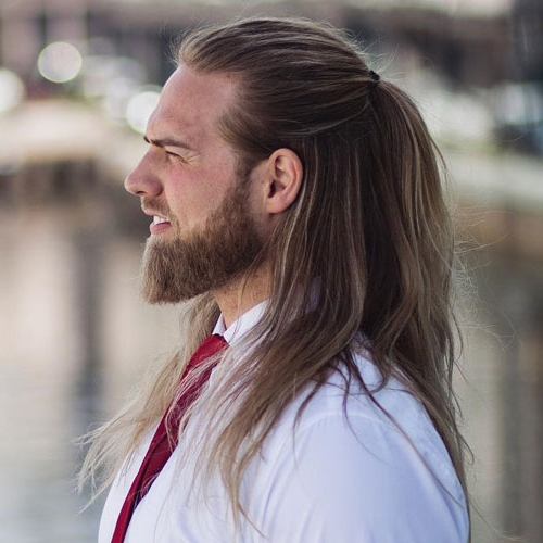 23 Men With Long Hair That Look Good (2019 Guide) In Long Hairstyles Half Pulled Back (View 15 of 25)