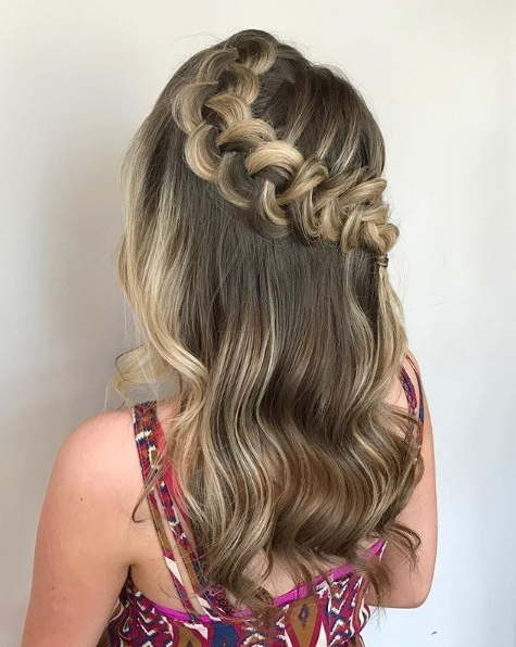 24 Top Curly Prom Hairstyles (2019 Update) | All Things Hair Uk Intended For Half Prom Updos With Bangs And Braided Headband (View 12 of 25)