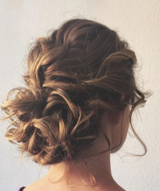25 Chic Braided Updos For Medium Length Hair | Hair | Wedding Pertaining To Messy Bun Prom Hairstyles With Long Side Pieces (View 4 of 25)
