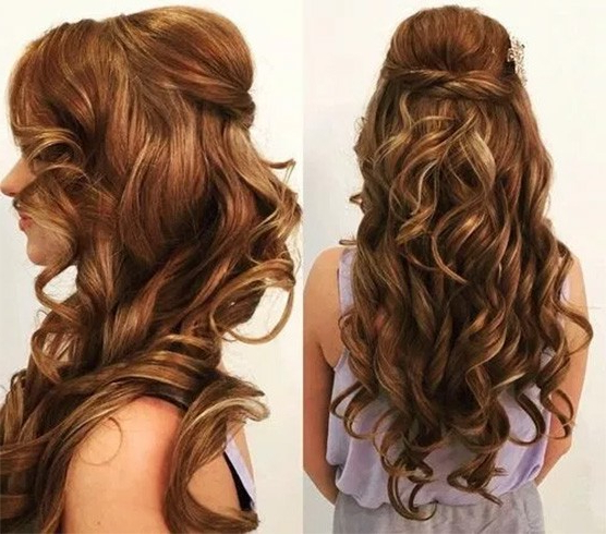 25 Easy Half Up Half Down Hairstyles Collection With Regard To Long Hairstyles Half Pulled Back (View 22 of 25)
