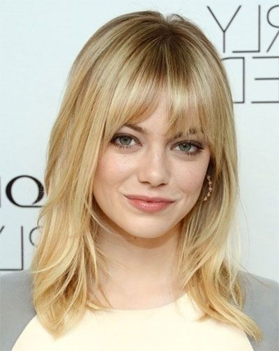 25 Modern Medium Length Haircuts With Bangs Layers For Thick Hair Intended For Long Haircuts With Bangs For Round Faces (View 23 of 25)