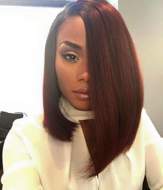 25 Trendy African American Hairstyles 2019 – Hairstyles Weekly Throughout Long Bob Hairstyles With Bangs Weave (View 12 of 25)