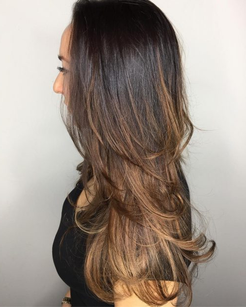 26 Prettiest Hairstyles For Long Straight Hair In 2019 In Waist Length Brunette Hairstyles With Textured Layers (View 15 of 25)