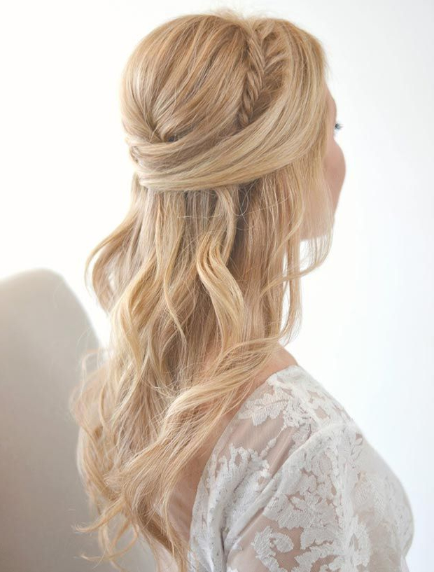 26 Stunning Half Up, Half Down Hairstyles | Hair | Wedding Hair Down Inside Half Prom Updos With Bangs And Braided Headband (View 13 of 25)