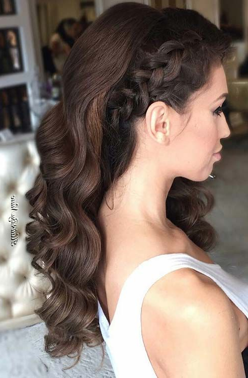 27 Gorgeous Prom Hairstyles For Long Hair | Wedding Hair, Make Up In Side Swept Brunette Waves Hairstyles For Prom (View 2 of 25)