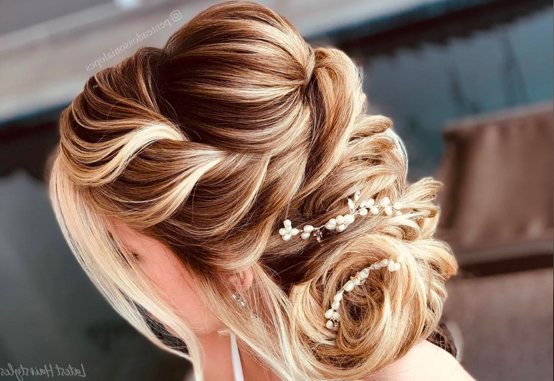 27 Gorgeous Wedding Hairstyles For Long Hair In 2019 With Regard To Braid And Fluffy Bun Prom Hairstyles (View 16 of 25)
