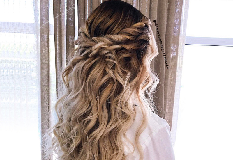 27 Prettiest Half Up Half Down Prom Hairstyles For 2019 In Half Prom Updos With Bangs And Braided Headband (View 3 of 25)