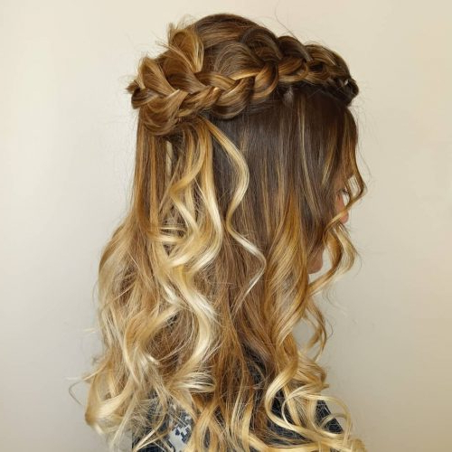 27 Prettiest Half Up Half Down Prom Hairstyles For 2019 Inside Floral Braid Crowns Hairstyles For Prom (View 23 of 25)