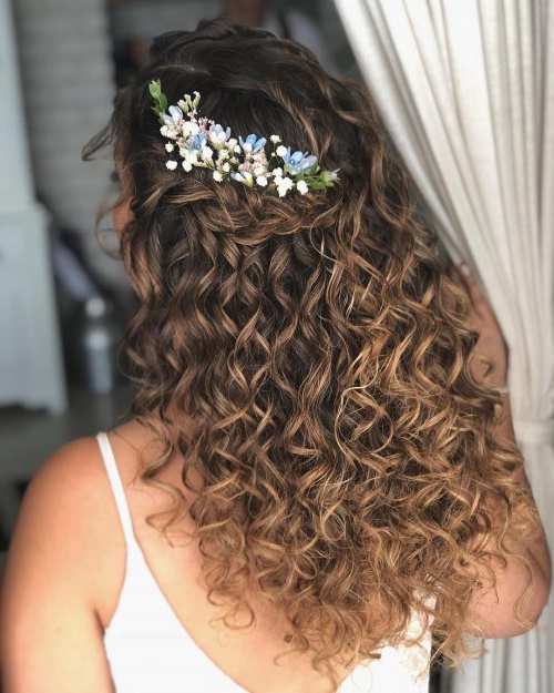 27 Prettiest Half Up Half Down Prom Hairstyles For 2019 Regarding Curled Floral Prom Updos (View 2 of 25)