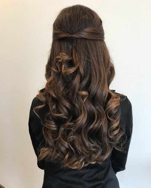 27 Prettiest Half Up Half Down Prom Hairstyles For 2019 With Long Hairstyles Half Pulled Back (View 7 of 25)