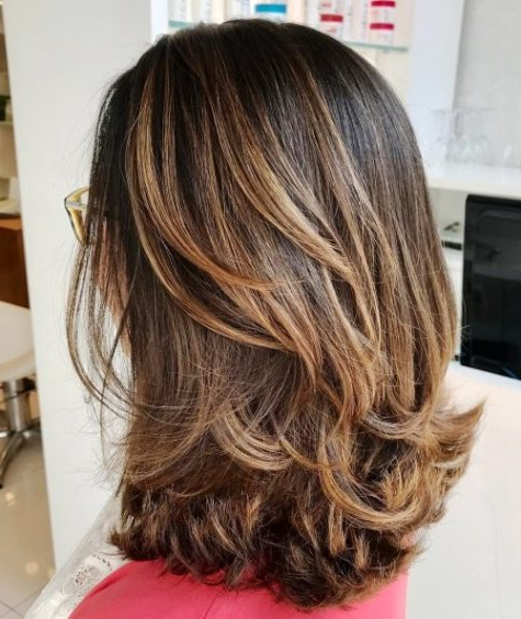 27 Super Easy Medium Length Hairstyles For Thick Hair With Regard To Mid Back Brown U Shaped Haircuts With Swoopy Layers (View 9 of 25)