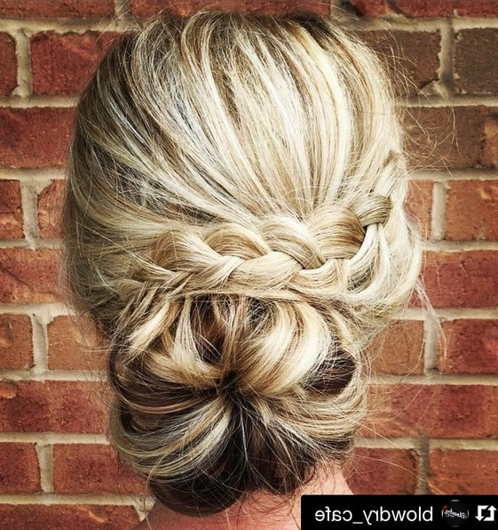 27 Super Trendy Updo Ideas For Medium Length Hair – Popular Haircuts Throughout Chic Waterfall Braid Prom Updos (View 19 of 25)
