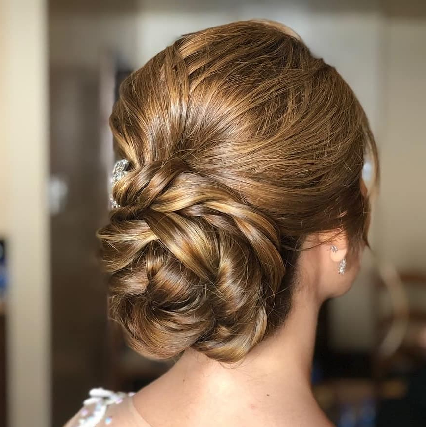 28 Cute & Easy Updos For Long Hair (2019 Trends) Throughout Updo For Long Hair With Bangs (View 15 of 25)