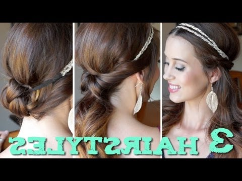 3 Easy Back To School Hairstyles Using A Headband! – Youtube Throughout Long Hairstyles With Headbands (View 11 of 25)