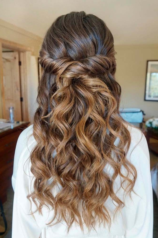 30 Chic Half Up Half Down Bridesmaid Hairstyles | H A I R Inside Wedding Half Up Long Hairstyles (View 3 of 25)