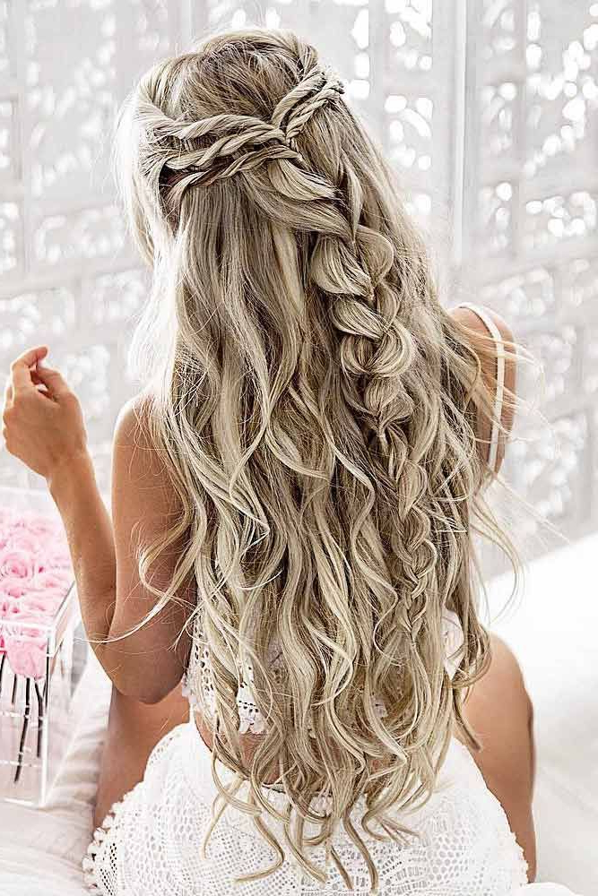 30 Chic Half Up Half Down Bridesmaid Hairstyles | Wedding Hair Throughout Long Hairstyles Down For Wedding (View 8 of 25)