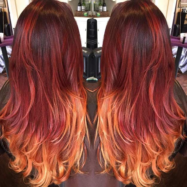 31 Best Red Ombre Hair Color Ideas | Stayglam In Long Hairstyles Red Ombre (View 19 of 25)