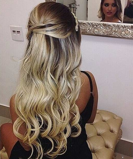 31 Half Up, Half Down Hairstyles For Bridesmaids | Stayglam Inside Long Hairstyles For Weddings Hair Down (View 20 of 25)