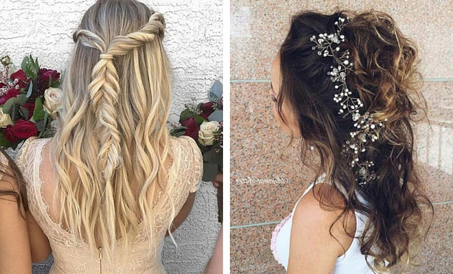 31 Half Up, Half Down Hairstyles For Bridesmaids | Stayglam Inside Long Hairstyles Half Up Half Down (View 16 of 25)
