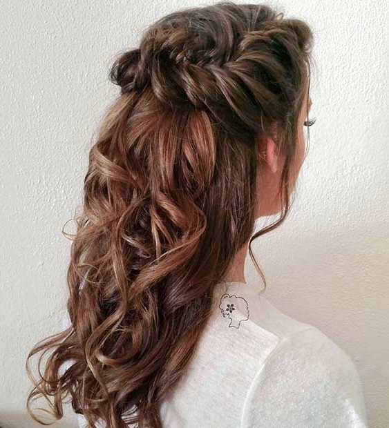 31 Half Up, Half Down Hairstyles For Bridesmaids | Stayglam Intended For Long Hairstyles Half Up Curls (View 7 of 25)