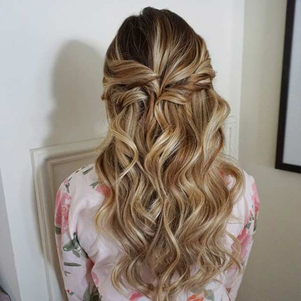 31 Half Up, Half Down Prom Hairstyles | Page 2 Of 3 | Stayglam Throughout Easy Curled Prom Updos (View 13 of 25)