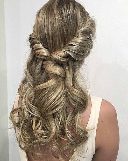 31 Half Up, Half Down Prom Hairstyles | Page 2 Of 3 | Stayglam Throughout Twisting Braided Prom Updos (View 18 of 25)
