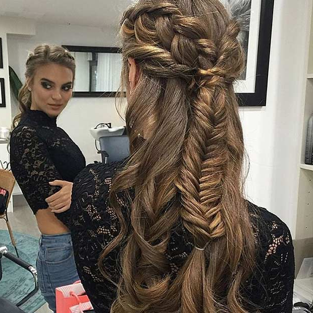 31 Half Up, Half Down Prom Hairstyles | Stayglam In Half Prom Updos With Bangs And Braided Headband (View 8 of 25)