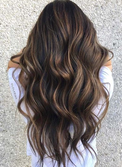 32 Flattering Brunette Balayage Highlights In 2018   Hair Intended For Highlights For Long Hair (View 21 of 25)