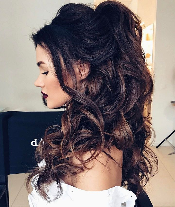 32 Pretty Half Up Half Down Hairstyles – Partial Updo Wedding Inside Long Hairstyles Half Up Half Down (View 25 of 25)