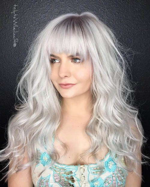 33 Most Flattering Hairstyles For Round Faces Of 2019 Within Long Hairstyles For Grey Hair (View 10 of 25)