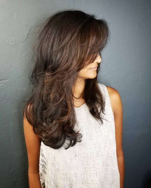 34 Cutest Long Layered Haircuts Trending In 2019 With Long Layered Waves And Cute Bangs Hairstyles (View 8 of 25)
