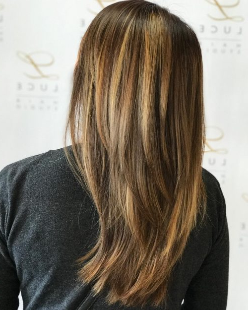 34 Cutest Long Layered Haircuts Trending In 2019 Within Reddish Brown Hairstyles With Long V Cut Layers (View 12 of 25)