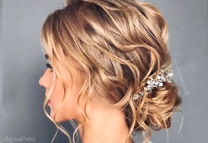 34 Cutest Prom Updos For 2019 – Easy Updo Hairstyles In Half Prom Updos With Bangs And Braided Headband (View 16 of 25)